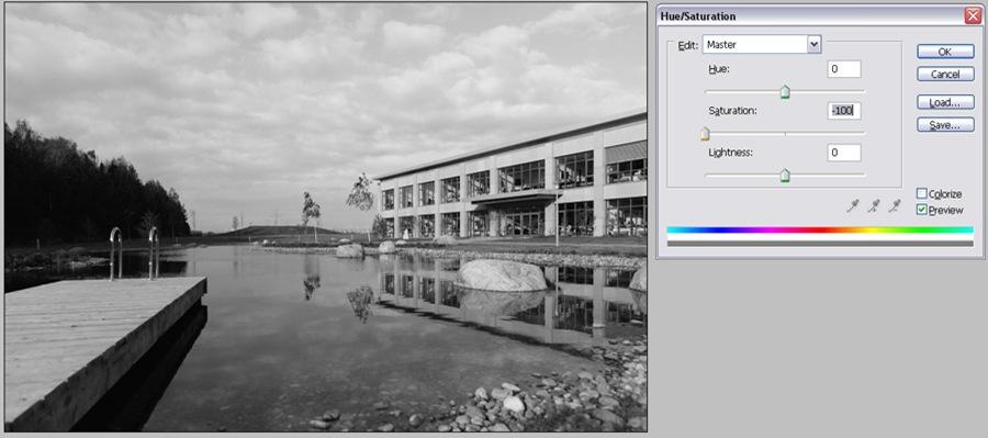 Черно белая фотография через Desaturation