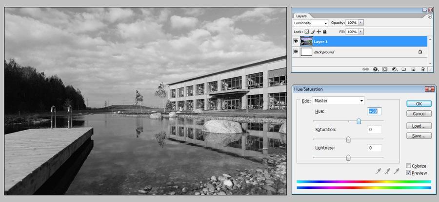 Черно белые фотографии через Luminosity H+25